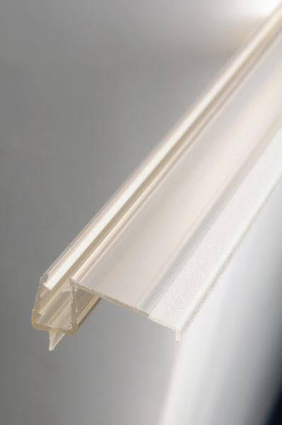 #1250 Tür-Abtropfprofil für 6+8 mm Glas, Länge 1 Meter, transparent