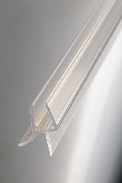 #1001/20 Wasserablaufprofil mit Dichtkeder für 6+8 mm Glas, 2Meter, transparent